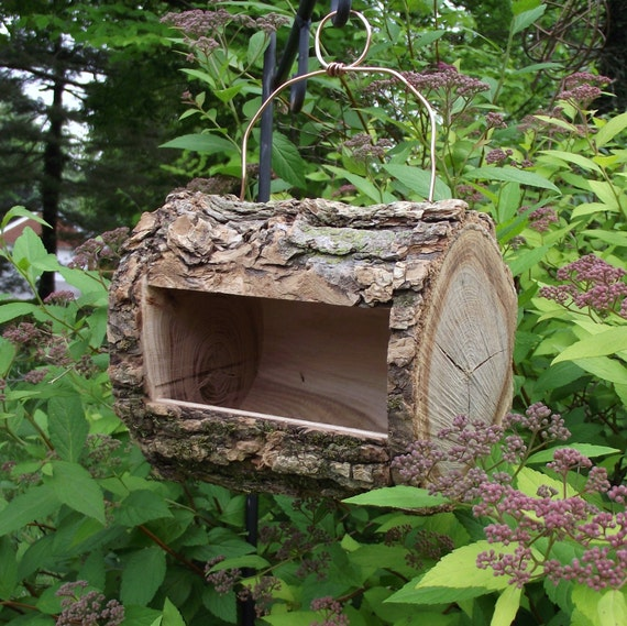 log bird feeder handmade from reclaimed tree branch natural