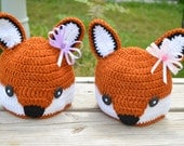 Twin Girls/Boys Fox Hats