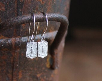Via Catone Tiny Sterling Silver Miraculous Medal Dangle Earrings on Sterling SIlver Ear Wires
