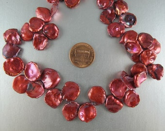 Cornflake Pearls, Cranberry Keishi Pearls, 11x16 to15x20mm, Large Top Drilled, 5 Loose Pearls (P049)