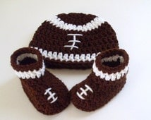 Baby Football Hat and Booties, Sports Baby Set, Sizes Newborn to 12 months