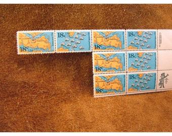 Battle of Yorktown & Virginia Capes  18 Cent 1981 Vintage US Postage Stamp - 8 Stamps