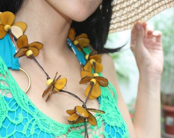 Lotus flower tagua long necklace yellow or multicolor by Allie