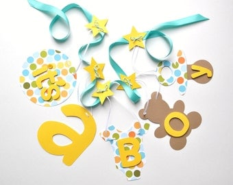 Yellow and turquoise baby shower decorations, polka dot it's a boy banner by ParkersPrints on Etsy