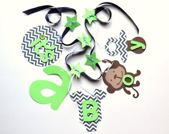 Monkey baby shower decorations navy and lime green it's a boy banner by ParkersPrints on Etsy