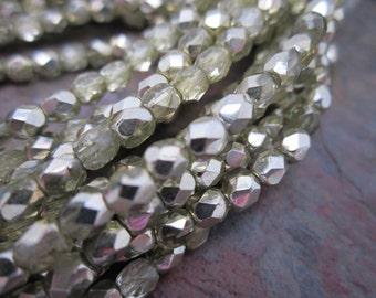 Metallic Green Mirror Firepolished 4mm Czech Glass Beads