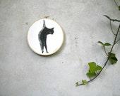 hoop art cat original painting for wall decor