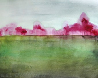 Landscape Artwork Painting - Grace - Bright Color - 11x14 Giclee Print - Wall Art - Watercolor Painting - Nature