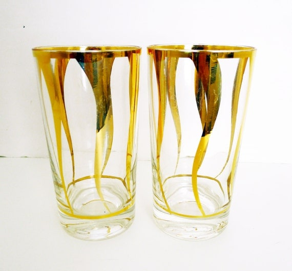 set of 2 mid century modern tall drinking glasses by