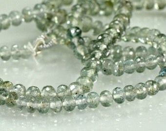 Moss Aquamarine Rondelles  AAA  Micro Faceted Mossy Green Aqua Marine Gemstone Beads, 3-3.5mm