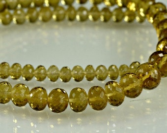 SALE-Honey Quartz Rondelles AAA Micro Faceted Honey Quartz Rondel Beads 3-6mm, 8 inches