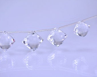 Sale -Rock Crystal  Briolettes  AAA Crystal Faceted Puff Diamond Briolette Gemstone Beads Micro Faceted
