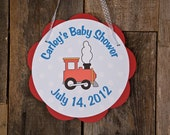 Little Train Themed Baby Shower Sign Door Hanger, Baby Shower Decoration in Red and Blue