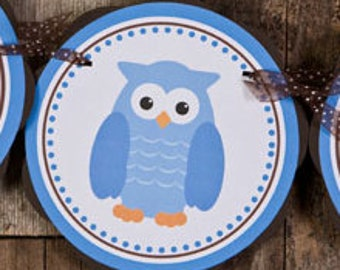 Owl Baby Shower Decorations - IT'S A BOY Baby Shower Banner - Owl Theme Baby Shower Decorations in Blue and Brown