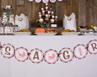 Baby Shower Decorations - ITS A GIRL Banner Party Sign, Carriage Theme Baby Shower Decoration, Baby Shower Banner pink carriage