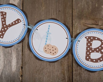 Milk and Cookies HAPPY BIRTHDAY Banner Party Decorations, Milk & Cookies Birthday Banner, Boy Birthday Party Decorations in Blue and Brown
