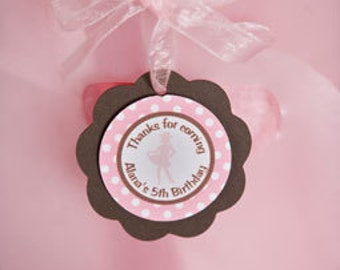 Cowgirl Theme Favor Tags - Children's Cowgirl Birthday Party Decorations in Pink and Brown (12)