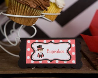 Magic Theme Food Tents - Menu Cards - Place Cards - Food Signs - Magician Party & Shower Decorations in Red and Black (6)