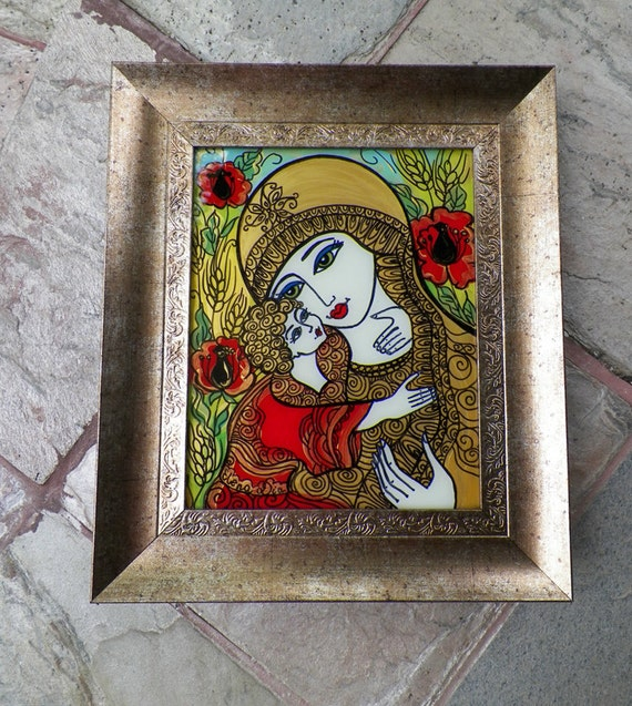 Glass Painting, Ukrainian Icon, Mother and Child
