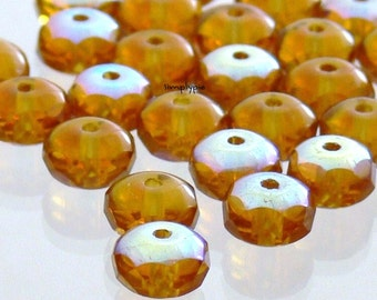 Donut Topaz AB Czech Glass Rondelle Beads 7mm 25 Faceted Spacers Gemstone-cut