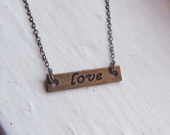 Love Necklace. Antique Bronze. Vintage Inspired Necklace. Bridesmaid Necklace. Valentines Day Jewelry