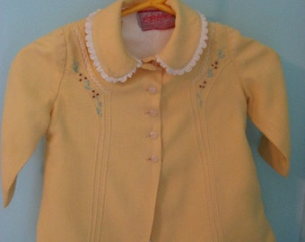 sweet vintage children's yellow embroidered jacket and hat