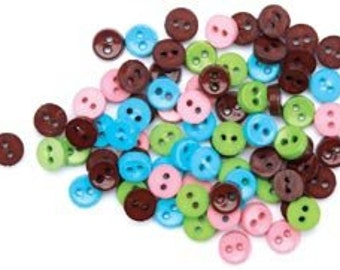 Favorite Findings Mini Flatback Buttons----Assorted----New in Package---462