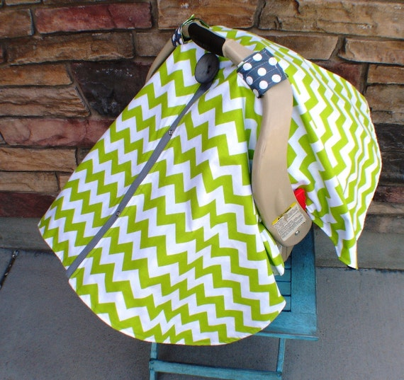 Carseat canopy Lime Green Chevron and Grey / Car seat cover / car seat canopy / carseat cover / carseat canopy / nursing cover