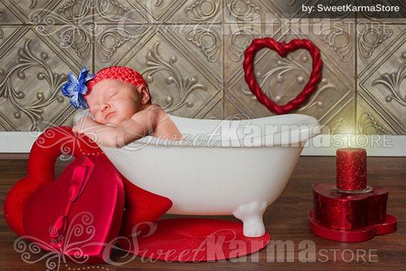 valentine bathtub newborn or child digital photography prop. Black Bedroom Furniture Sets. Home Design Ideas