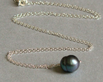 Artisan Freshwater Pearl and Sterling Silver Charm Necklace. Classic Collection. Gifts under 30.