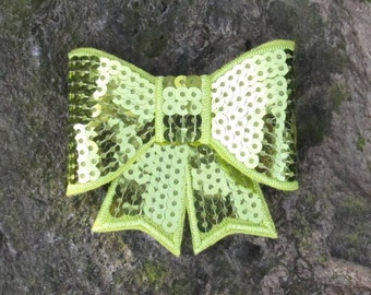 Lime Green Sequin Bow Hair Clip- St. Patrick's Day- Ready To Ship