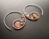 14k Gold Filled Paisley Hoop Earrings - MOONDANCE - wire wrapped with peach moonstone, yellow citrine and white moonstone gemstones