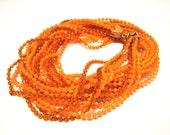 Antique Orange Lucite Beaded 6 Strand Necklace