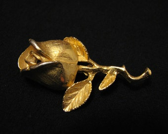 Vintage Dubarry of Fifth Ave Gold Tone Rose Flower Pin Brooch