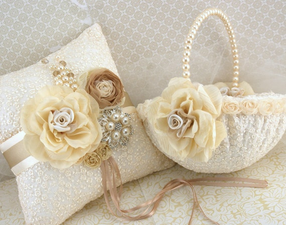 Vintage Flower Girl Basket And Ring Bearer Pillow : Ring bearer pillow and pearl flower girl basket in by solbijou
