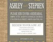 Gray and Poppy Yellow Rehearsal Dinner Invitation