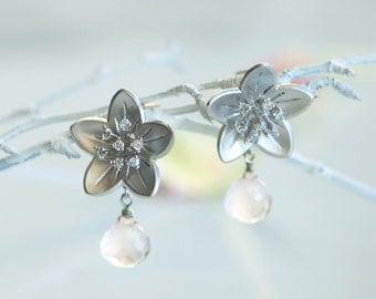 Winter wedding earrings, Pink earrings, pink earring, Silver stud earrings, Winter wedding, Flower stud earrings,  Rose quartz earrings