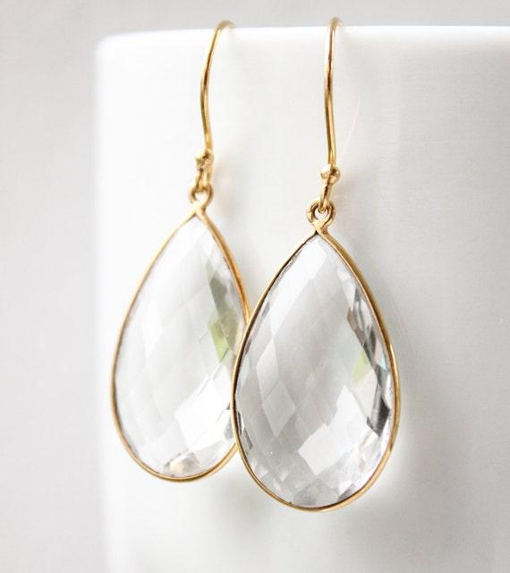 Gold Crystal Quartz Teardrop Earrings - Bridal Earrings -