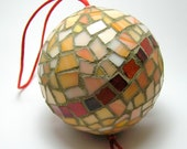 Mosaic Handmade Ornament Ball - Christmas Tree and Home decor - orange pink ceramic and glass tiles