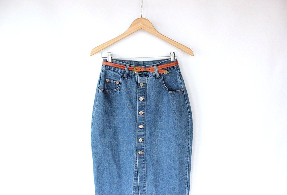 vintage 80s denim skirt with silver by