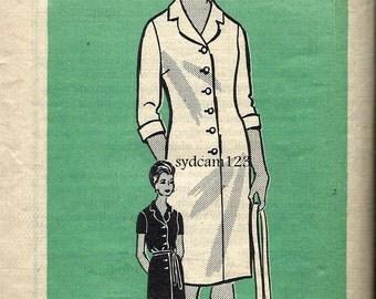 Vintage 1960s Shirtdress Pattern Tie Belt Notched Collar Sleeve Variation Mail Order 9095 Bust 35 or 43
