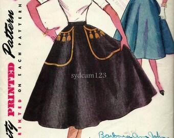 Vintage 1954 Full Skirt w Handpainted Details and Cummerbund...Simplicity 4301 Waist 26