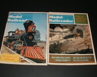 Group of Vintage Model Railroader Magazines from 1965 - Small Scale Miniatures Dioramas Hobby Railroading Reference