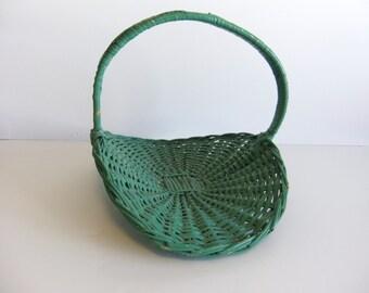 Vintage Basket Green wicker