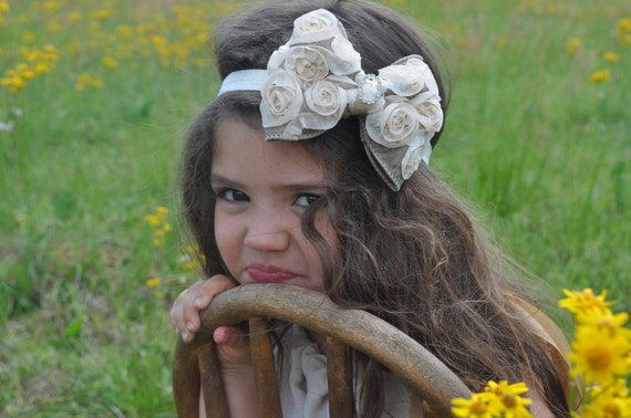 Ivory & Taupe Brown Satin Rosette Hair Bow w/ Crystal Center Ivory Headband or Hair Clip - The Virginia - Baby Toddler Child Girls Headband