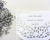 wedding confetti bags, glassine bags, dried lavender, doilies, personalized, 40