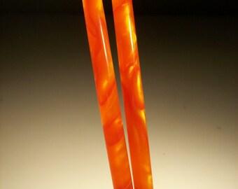 Red Tangerine acrylic Hair sticks.