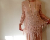 80s vintage Pink Lace Dress David Rose Sheer Ruffle Flapper Dress Party Evening Prom Wedding Gown 24W Plus Size