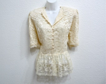 1980s Lace Blouse Cream White Pearl Buttons Pin up Blouse Size M