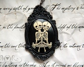 Fetal Skeleton Conjoined Twins Victorian Cameo Necklace